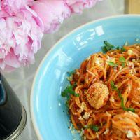 Spaghetti with Fried Tomato and Mozzarella Balls