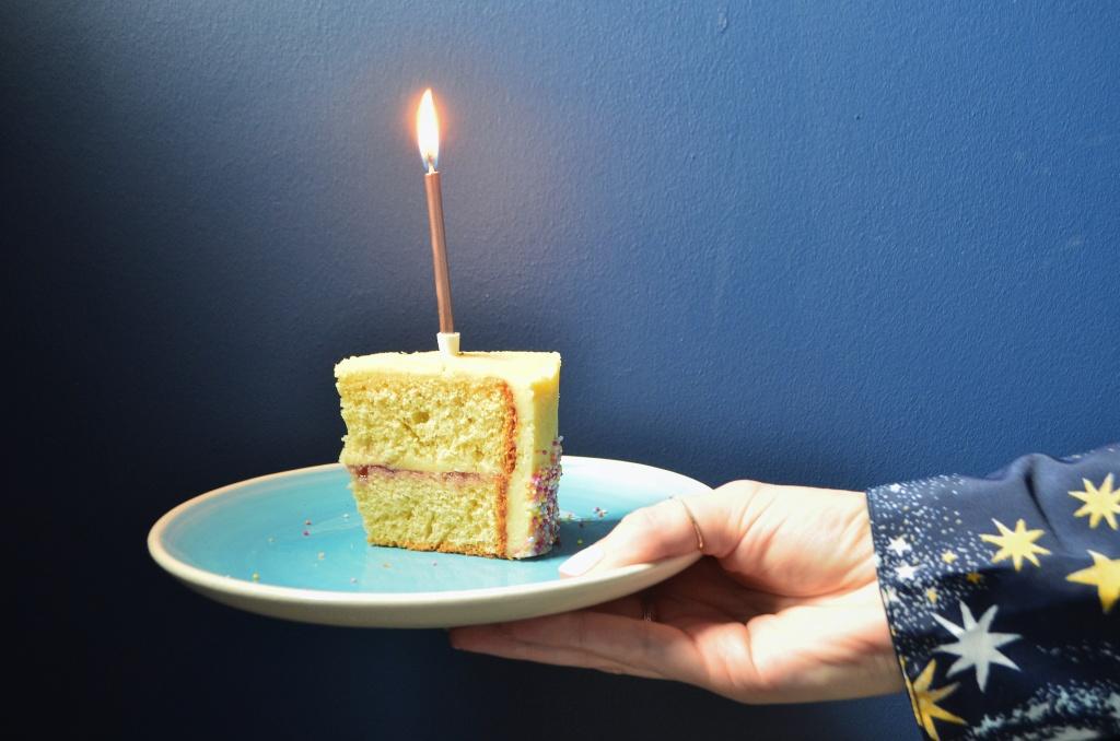 Plain Birthday Cake with Creamy Buttercream Frosting